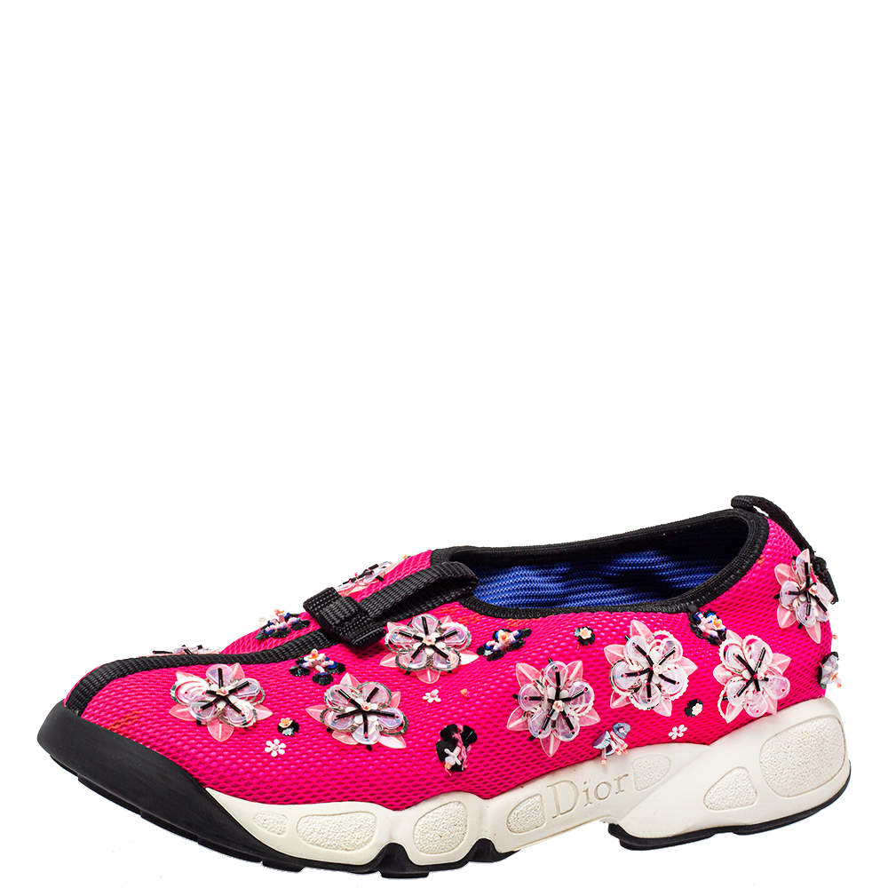 Dior Pink Mesh Embellished Fusion Slip On Sneakers Size 37