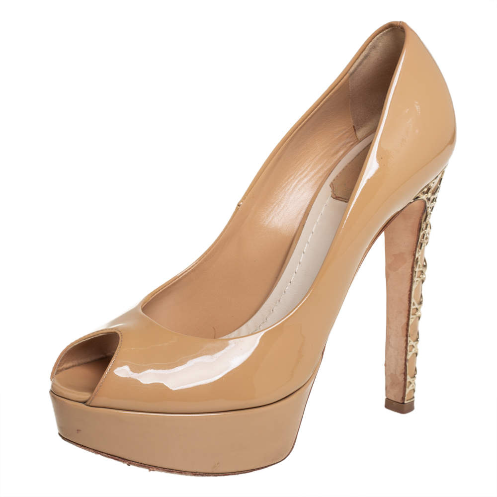 Christian Dior Beige Patent Miss Dior Peep Toe Platform Pumps Size 36.5