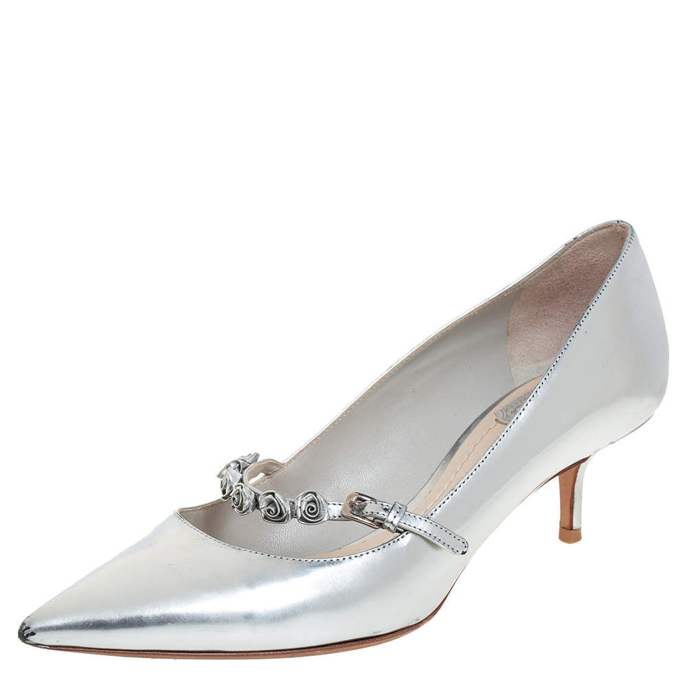 Dior Silver Patent Leather Embellished Pumps Size 37