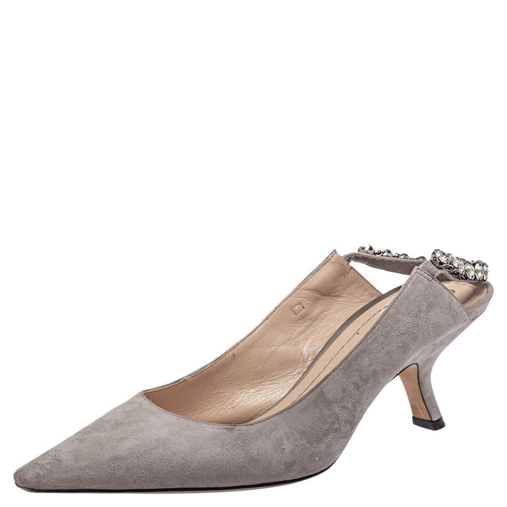 Dior Grey Suede Crystal Embellished Pointed Toe Slingback Sandals Size 38.5