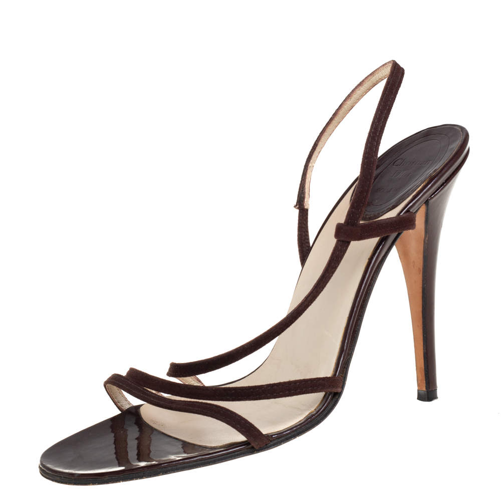 Dior Brown Suede And Patent Leather Ankle Strap Sandals Size 38