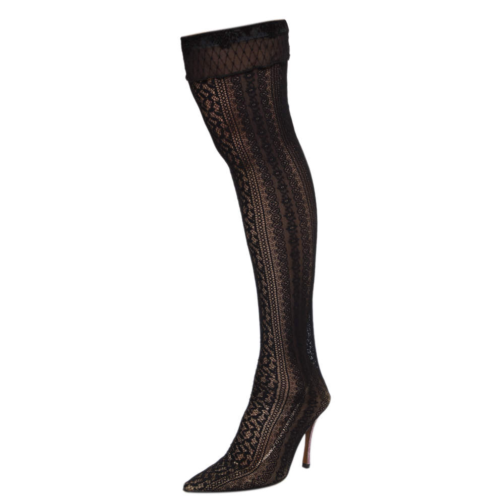 Dior Black Lace And Croc Embossed Leather Over The Knee Boots Size 38