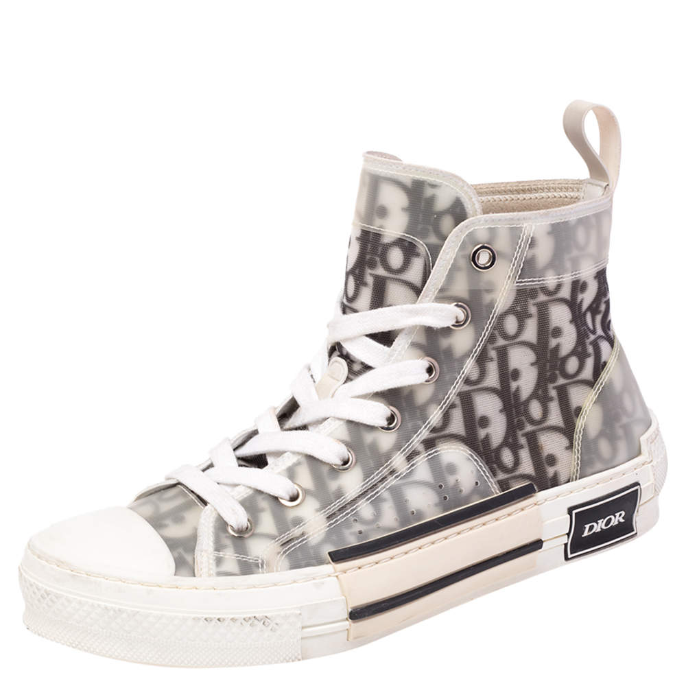 Dior White/Grey Oblique Mesh B23 High Top Sneakers Size 38