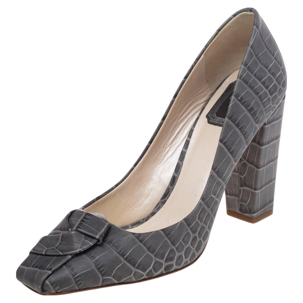 Dior Grey Croc Embossed Leather Knot Square Toe Pumps Size 38.5