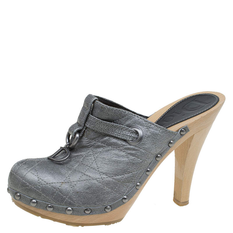 Dior Grey Metallic Cannage Stitched Leather Platform Clogs Size 36.5