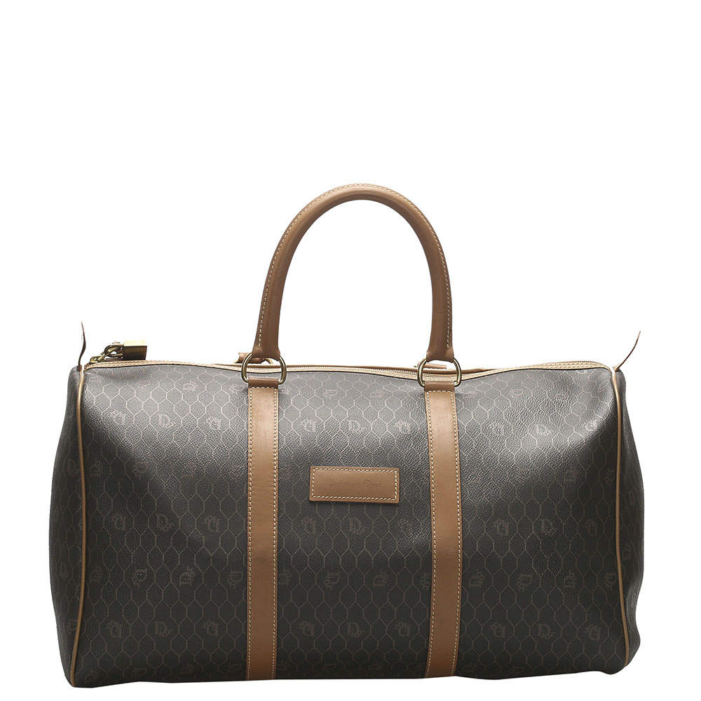 Dior Brown Honeycomb Coated Canvas Travel Bag
