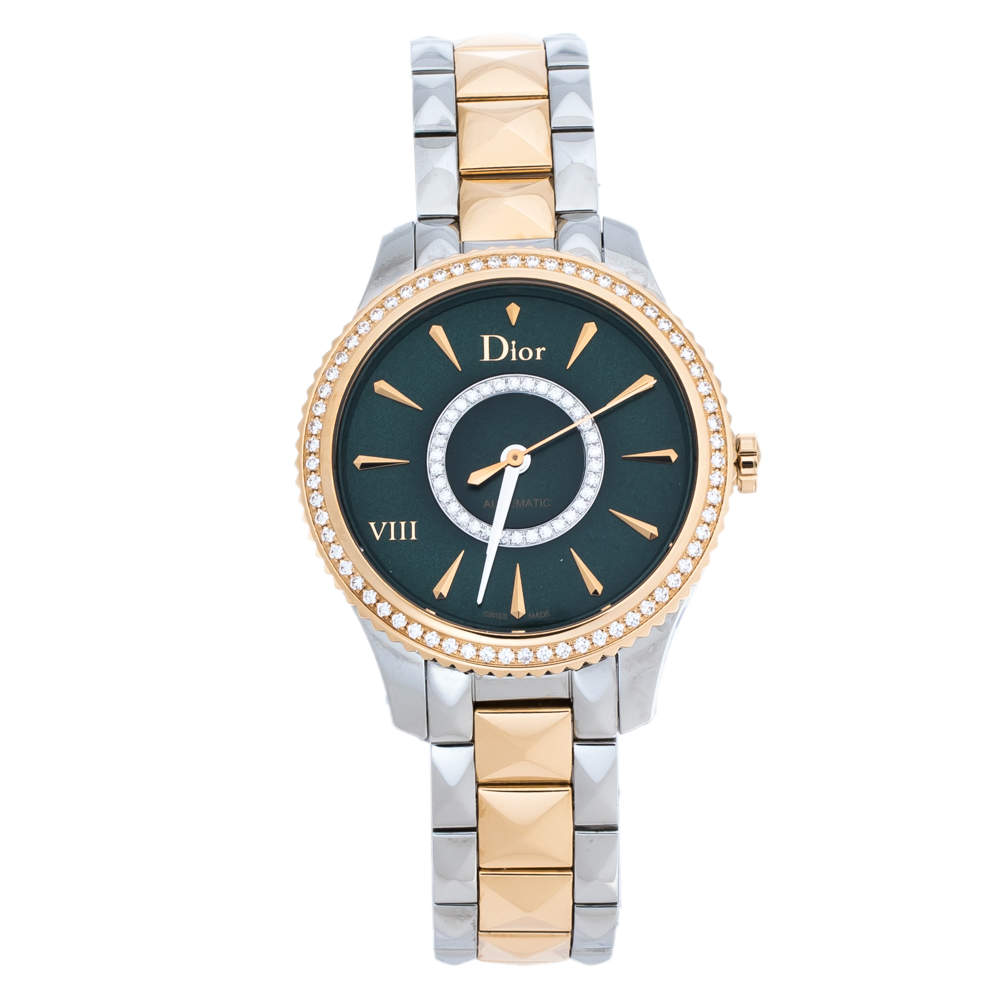 Dior Green 18K Rose Gold Stainless Steel Diamond VIII Place Vendome CD152511 Women's Wristwatch 32 mm