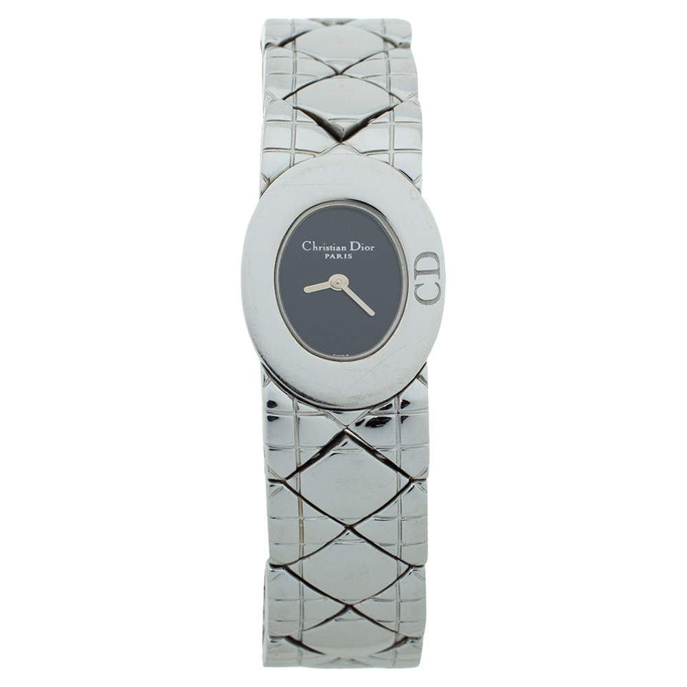 Christian Dior Black Stainless Steel Lady Dior D90-100 Women's Wristwatch 21 mm