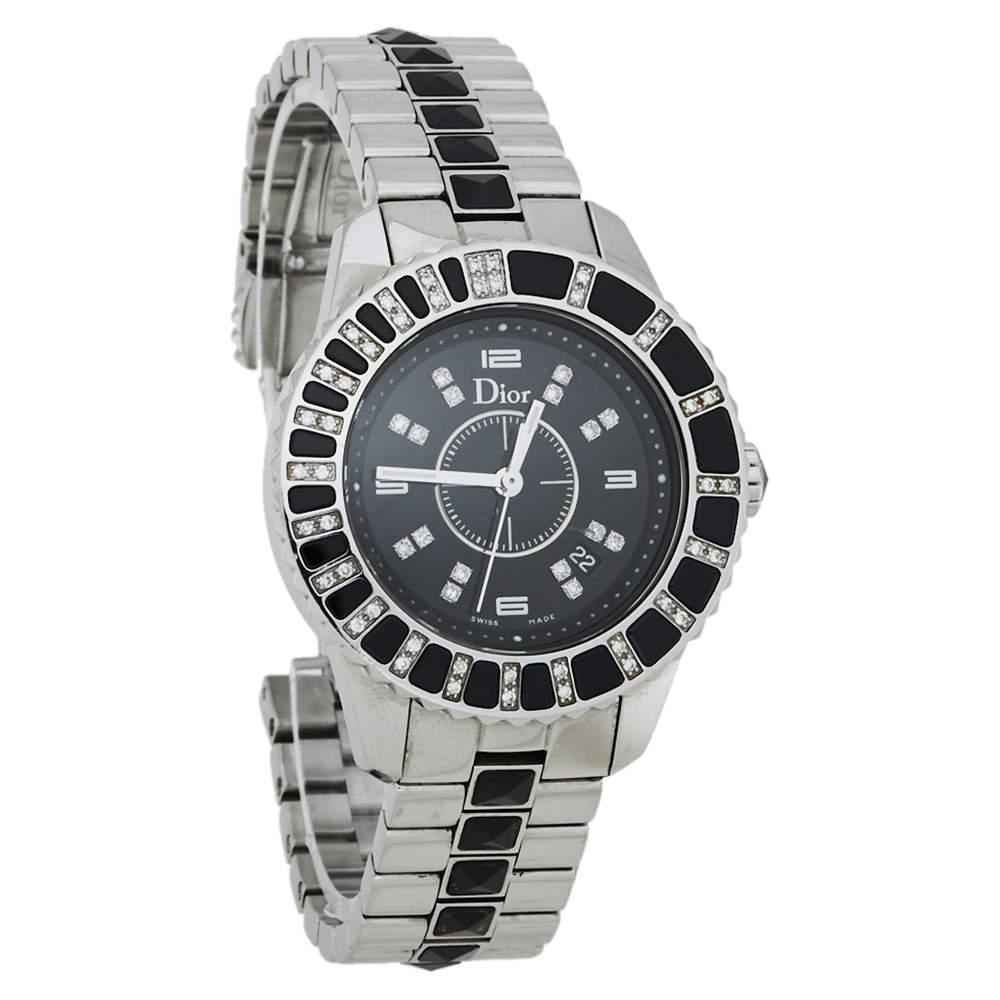 Dior Black Diamonds Stainless Steel Christal CD113115M001 Quartz Women's Wristwatch 34 MM