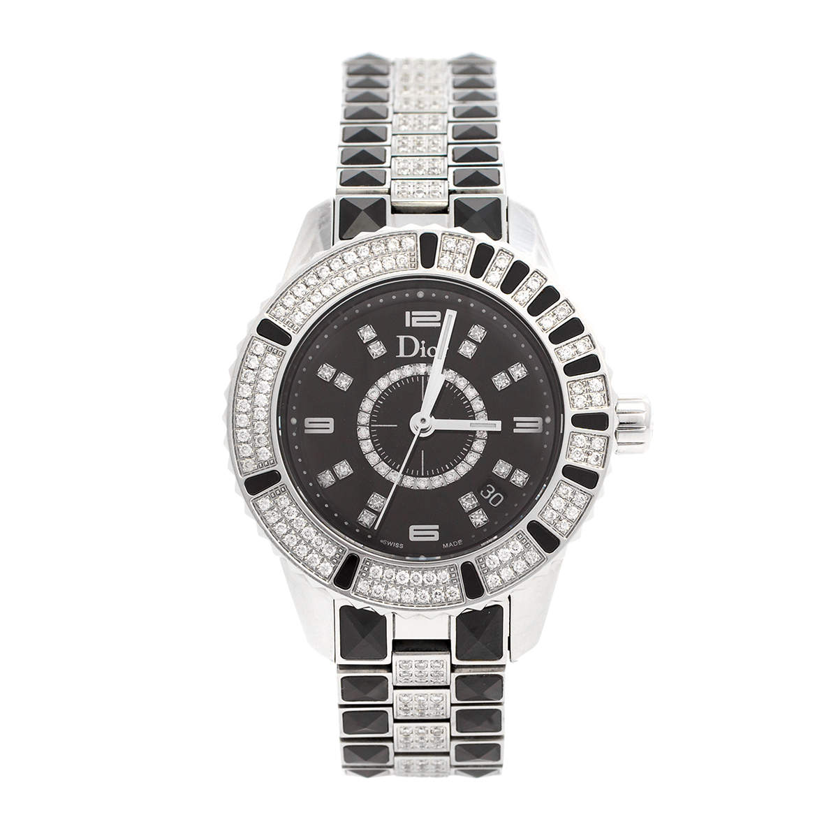 Dior Black Ceramic Stainless Steel Christal CD11311D Women's Wristwatch 33 mm