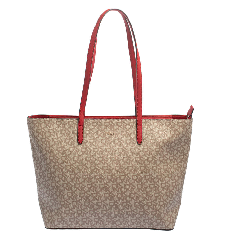 Dkny Beige/Red Signature Coated Canvas and Leather Large Bryant Tote