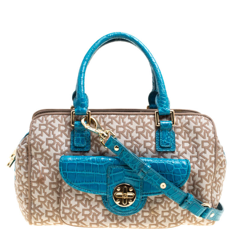 DKNY Beige/Blue Signature Canvas and Croc Embossed Leather Satchel