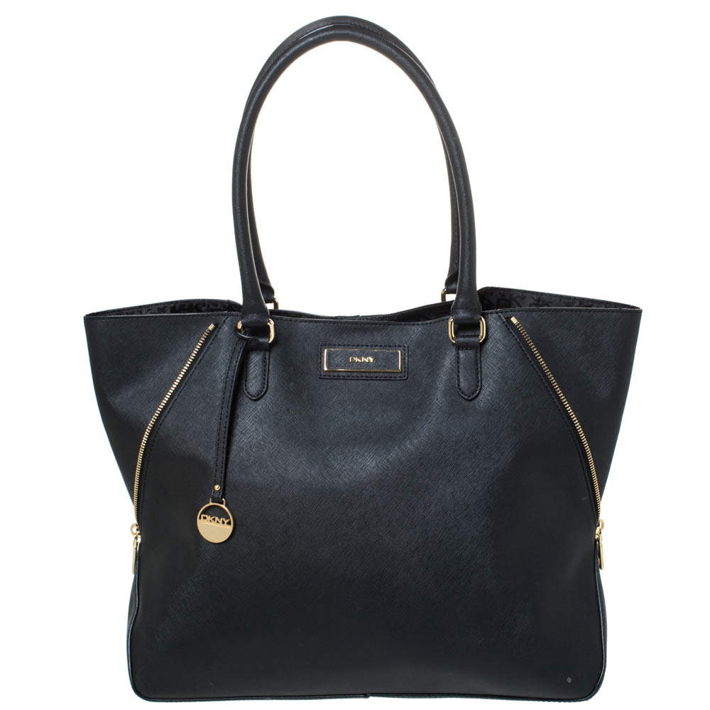 DKNY Black Leather Zip Side Shopper Tote