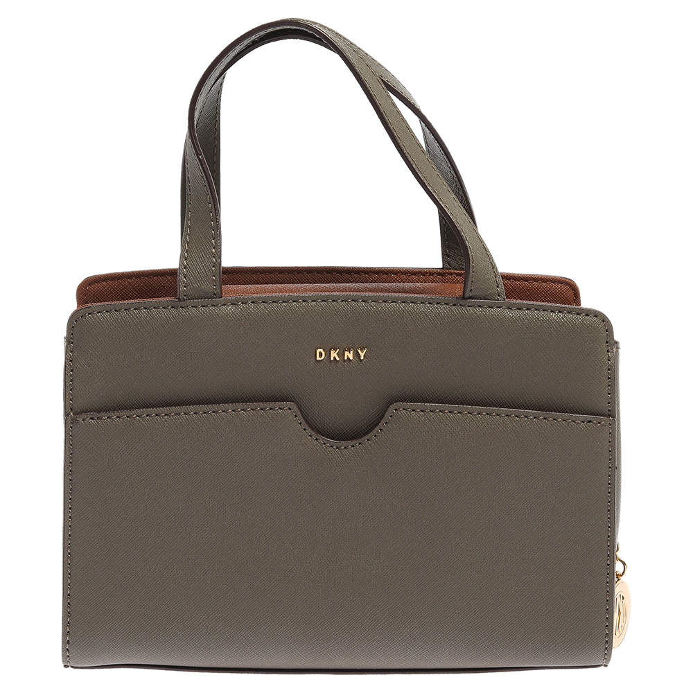 Dkny Khaki Green Leather Front Pocket Satchel