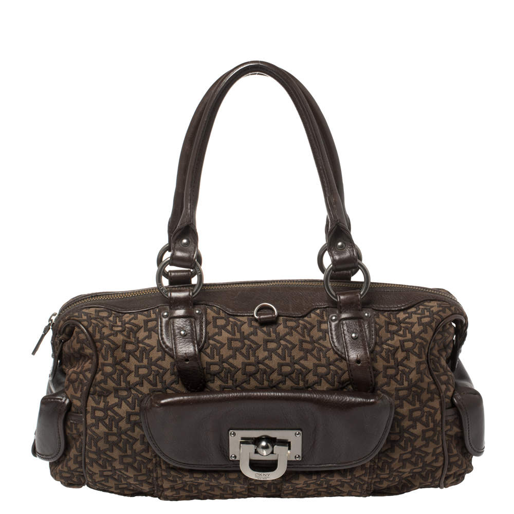 Dkny Brown Signature Canvas and Leather Front Pocket Satchel