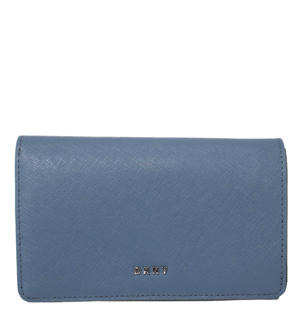 Dkny Blue Leather Flap Wallet