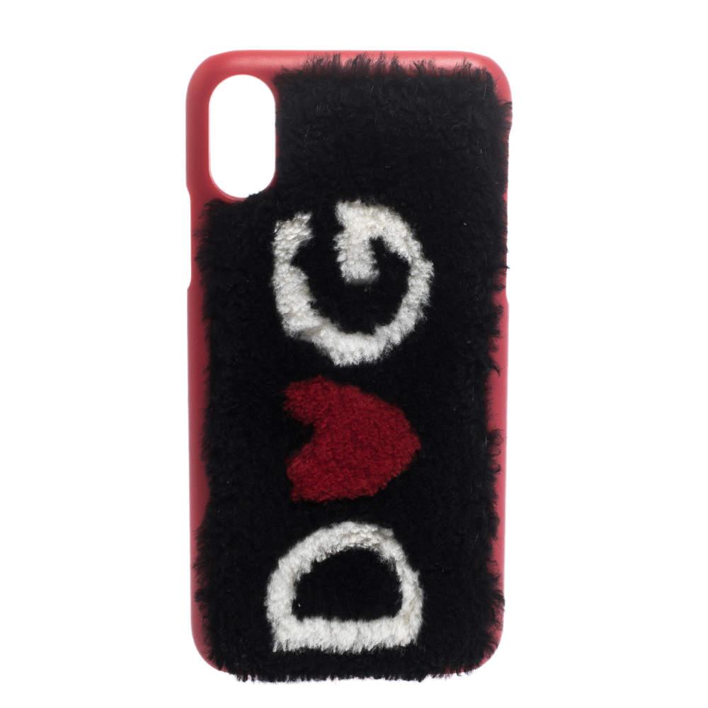 Dolce & Gabbana Red/Black Sherling Logo iPhone X Case
