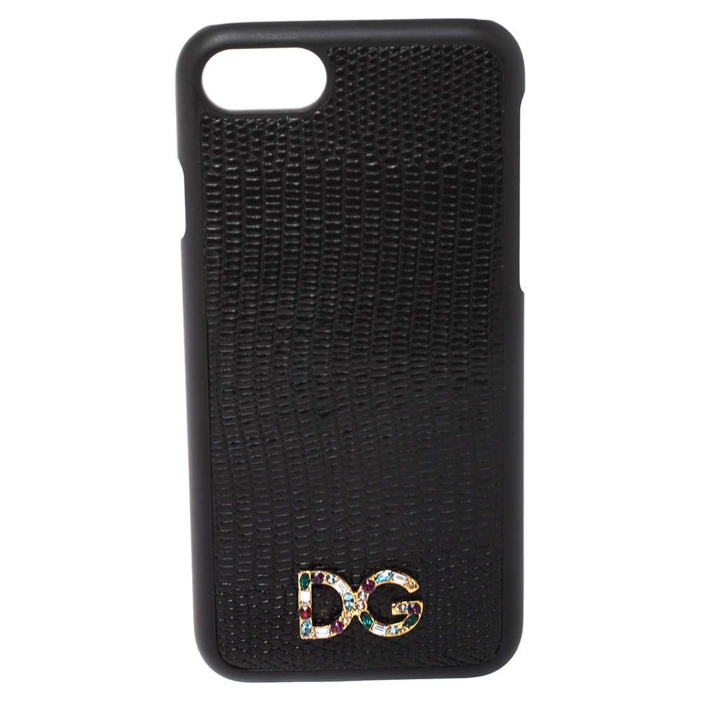 Dolce & Gabbana Black Lizard Embossed Leather iPhone 7 Case