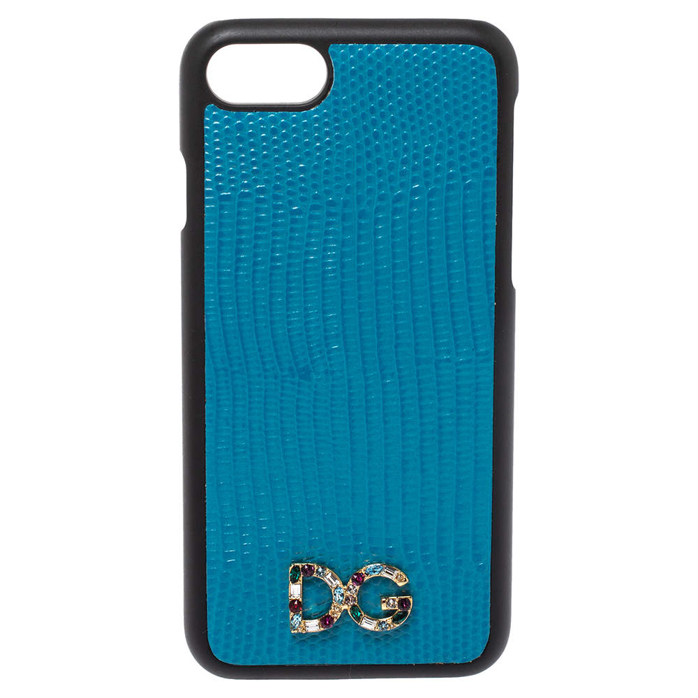 Dolce & Gabbana Blue Lizard Effect Leather Crystal Logo iPhone 7 Cover