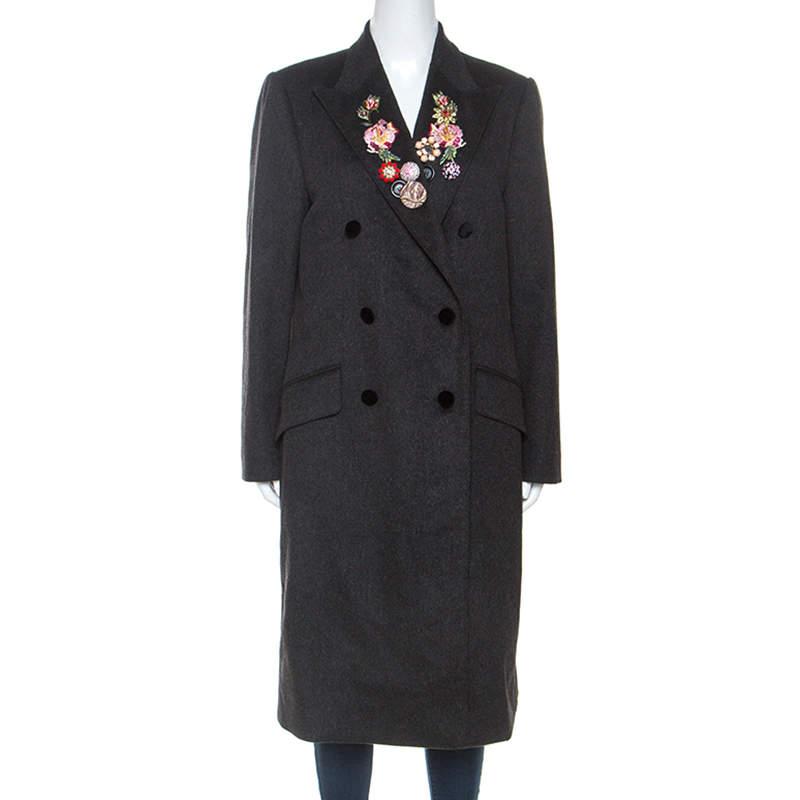 Dolce & Gabbana Dark Grey Wool Crystal Embellished Long Coat M