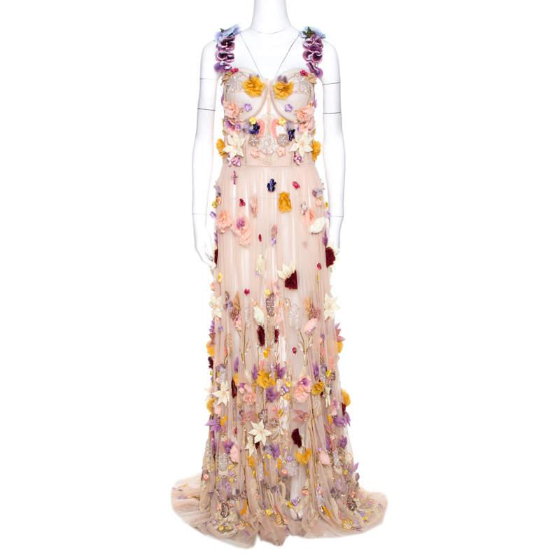Dolce & Gabbana Pale Pink Embellished Floral Applique Tulle Corset Dress M