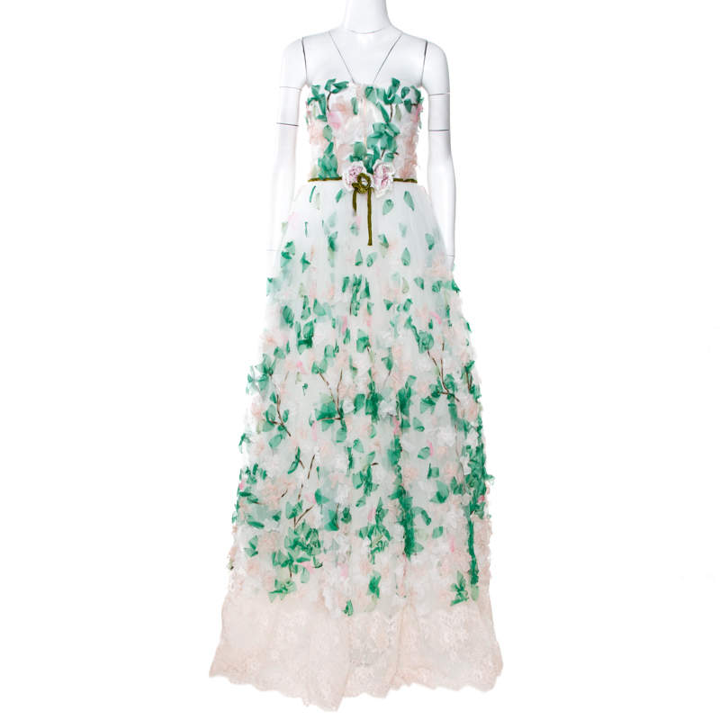 Dolce & Gabbana White Floral Applique Tulle Strapless Gown  M