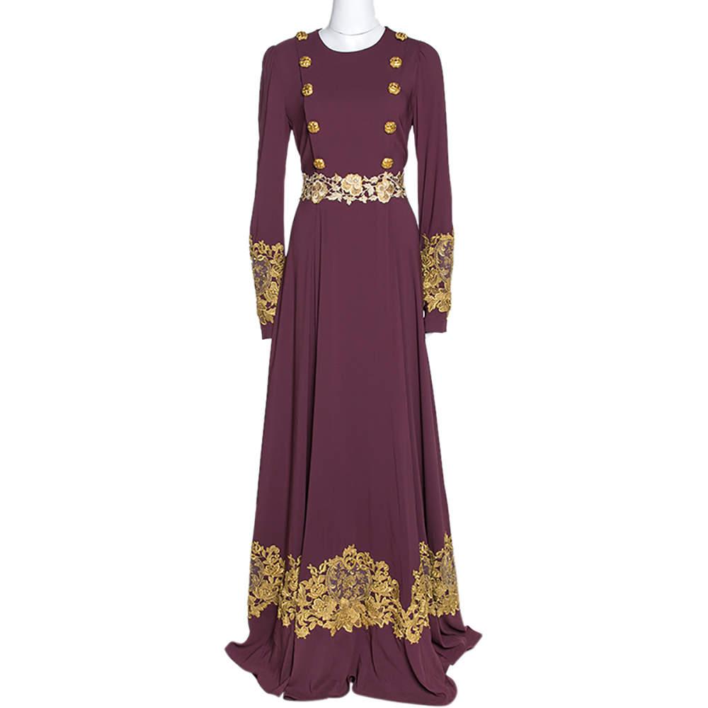 Dolce & Gabbana Bordeaux Stretch Crepe Lurex Lace Trim Gown M