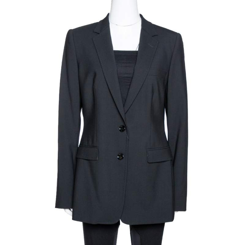 Dolce & Gabbana Black Stretch Wool Tailored Blazer L