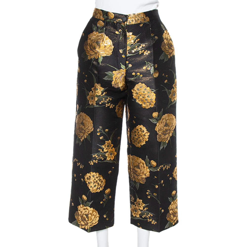 Dolce & Gabbana Black & Gold Floral Jacquard Cropped Trousers M