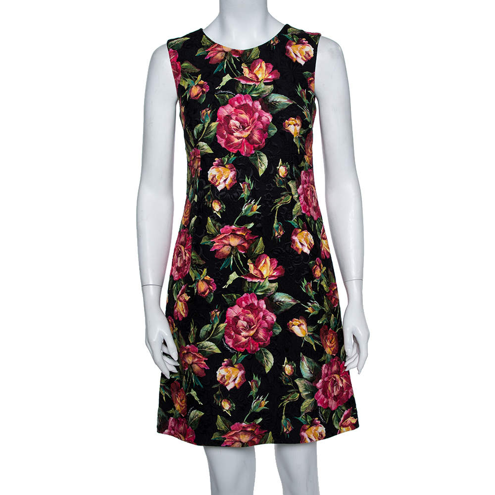 Dolce & Gabbana Black Floral Printed Jacquard Sleeveless Sheath Dress S