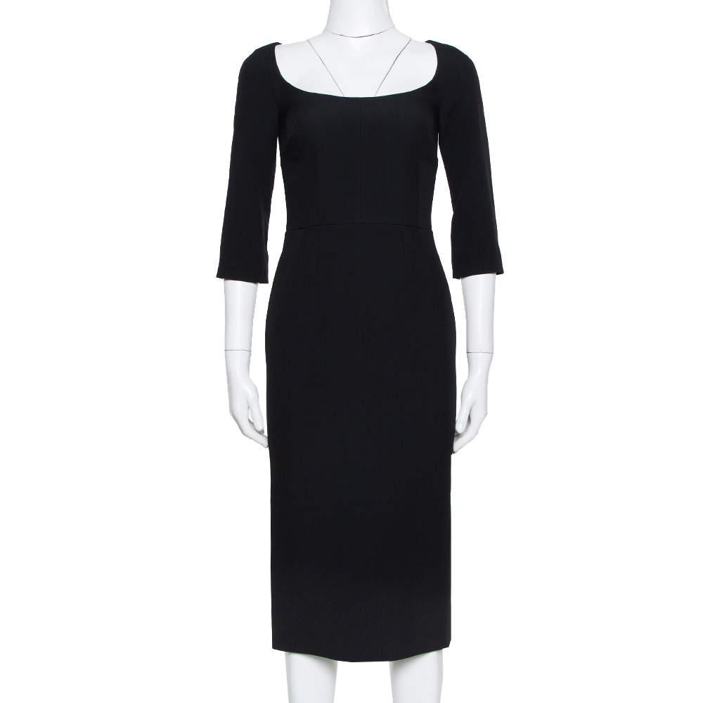 Dolce & Gabbana Black Crepe Open Neck Midi Dress XS