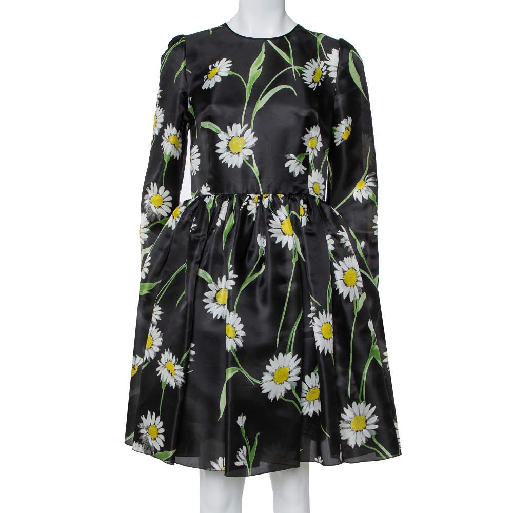 Dolce & Gabbana Black Sunflower Printed Silk Flared Dress M