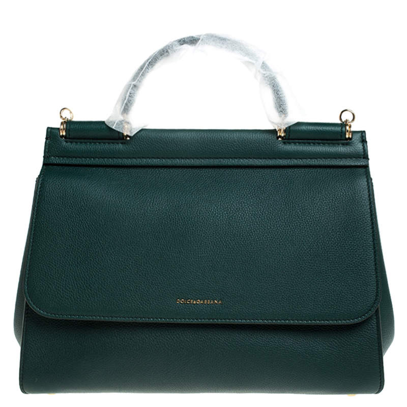 Dolce & Gabbana Green Smooth Leather Large Miss Sicily Top Handle Bag