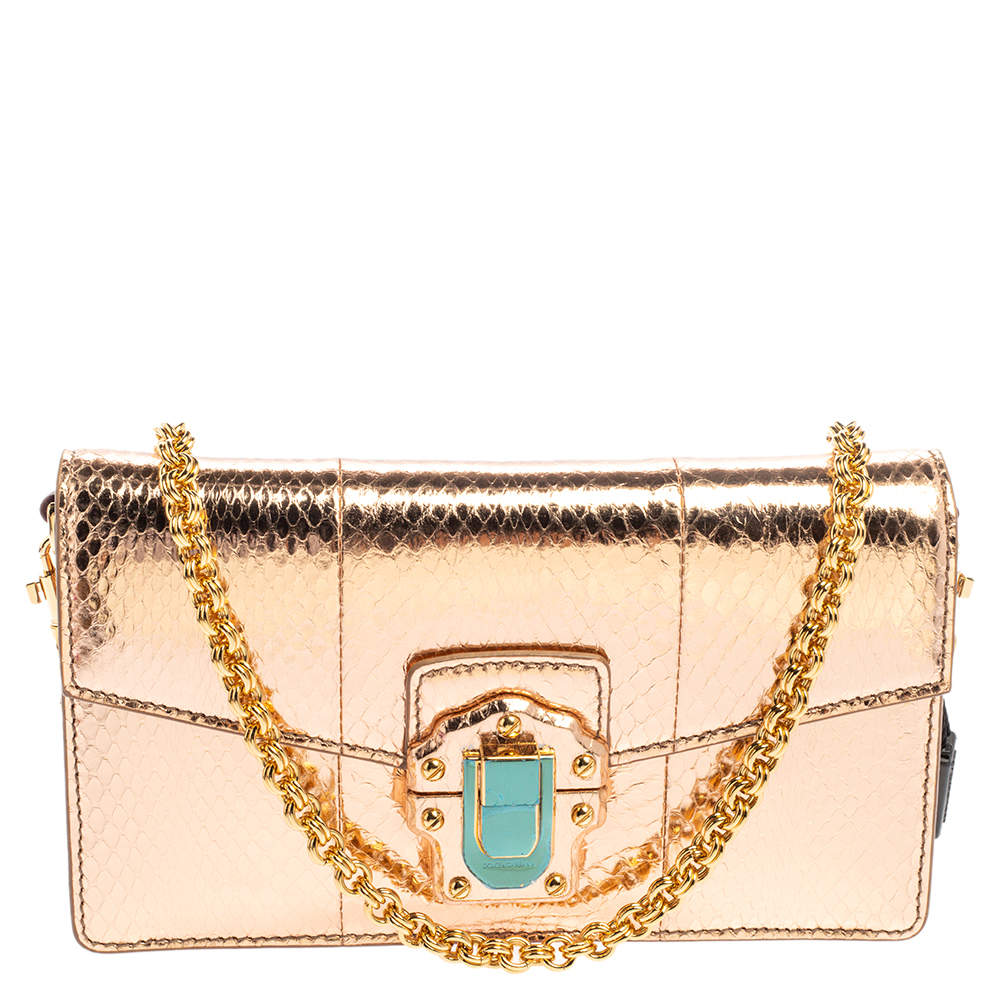 Dolce & Gabbana Metallic Rose Gold Snakeskin Lucia Chain Shoulder Bag