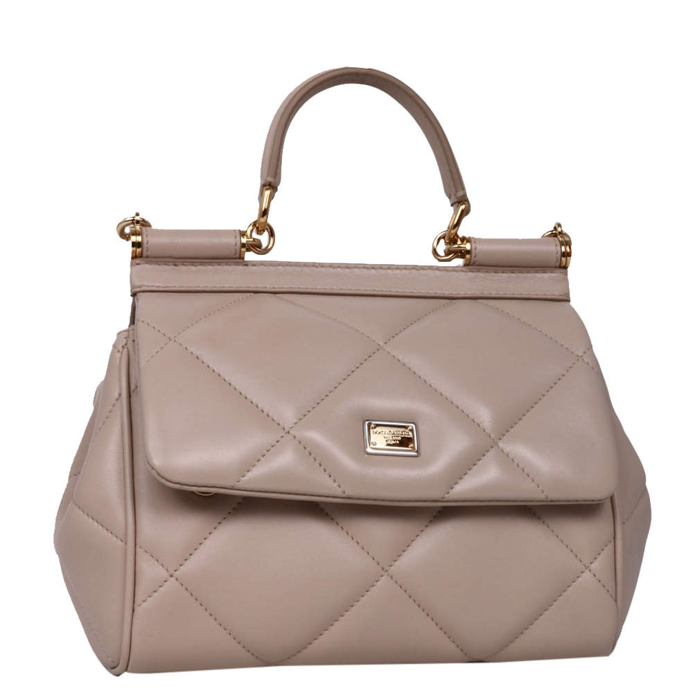 Dolce & Gabbana Beige Leather Small Sicily Bag