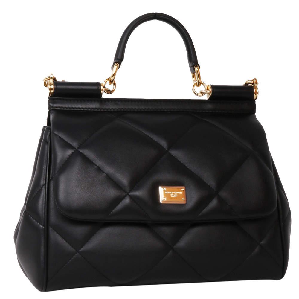 Dolce & Gabbana Black Medium Leather Sicily Bag