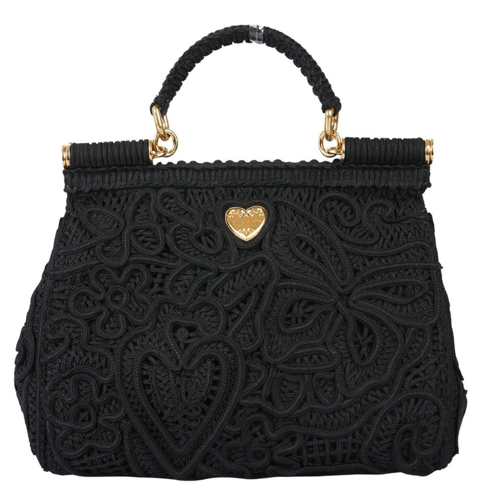Dolce & Gabbana Black Cordonetto Lace Sicily Medium Bag
