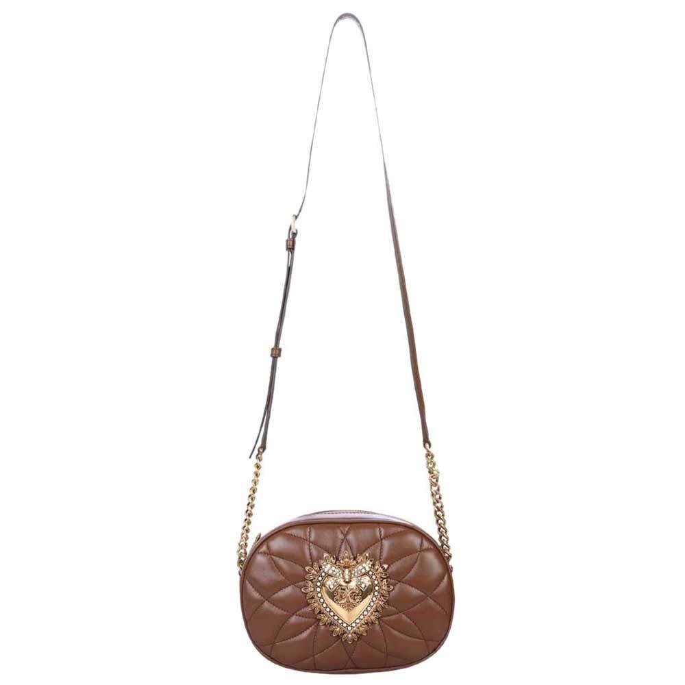 Dolce & Gabbana Brown Leather Devotion Camera Bag