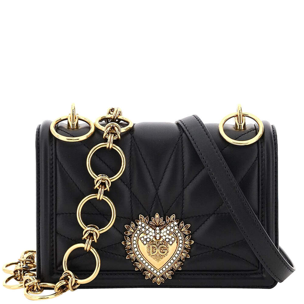 Dolce & Gabbana Black Leather Devotion Quilted Nappa Mini Bag