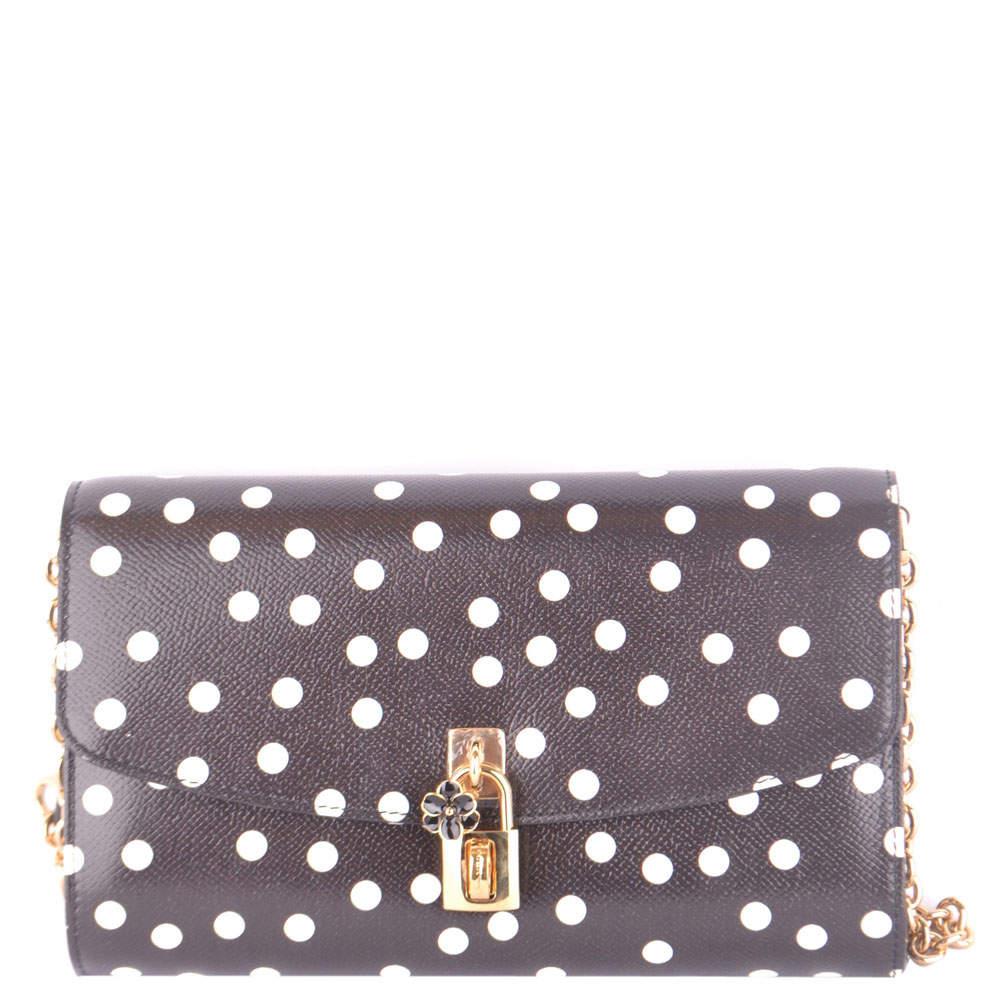 Dolce and Gabbana Black Leather Polka Dots Shoulder Bag