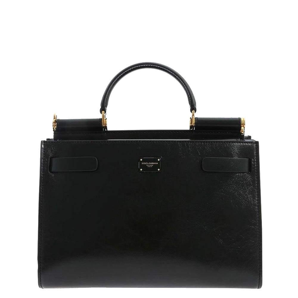 Dolce & Gabbana Black Leather Sicily Top Handle Bag