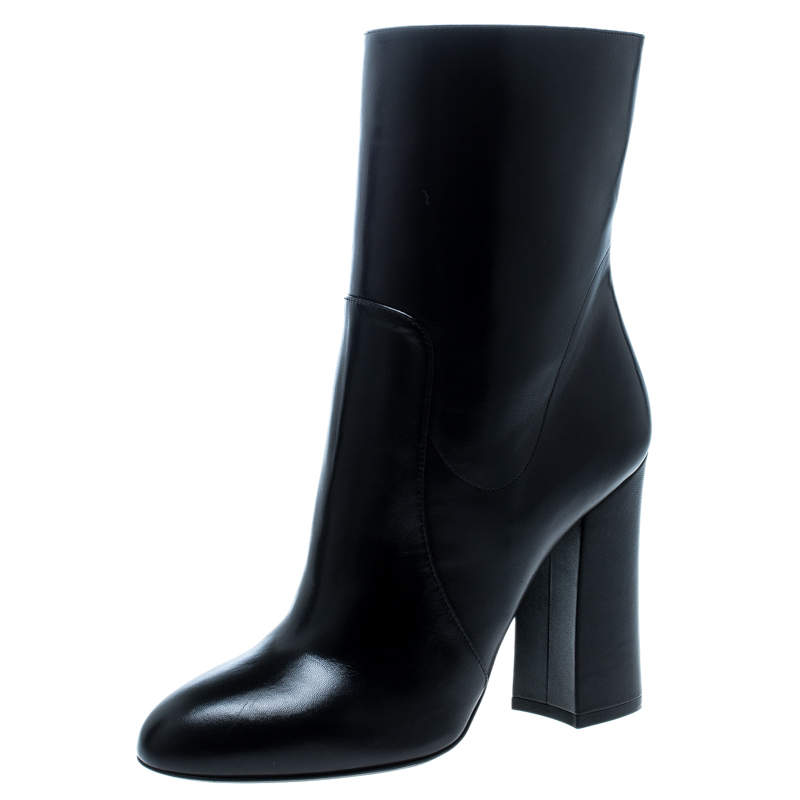 Dolce & Gabbana Black Leather Block Heel Ankle Boots Size 39