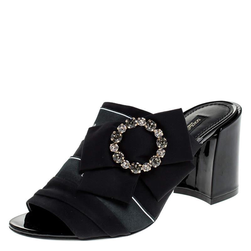 Dolce & Gabbana Black Satin Crystal Embellished Open Toe Mules Size 37.5