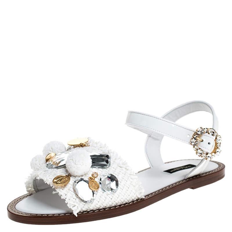 Dolce & Gabbana White Patent Leather And Raffia Pom Pom Crystal Embellished Flat Sandals Size 37.5