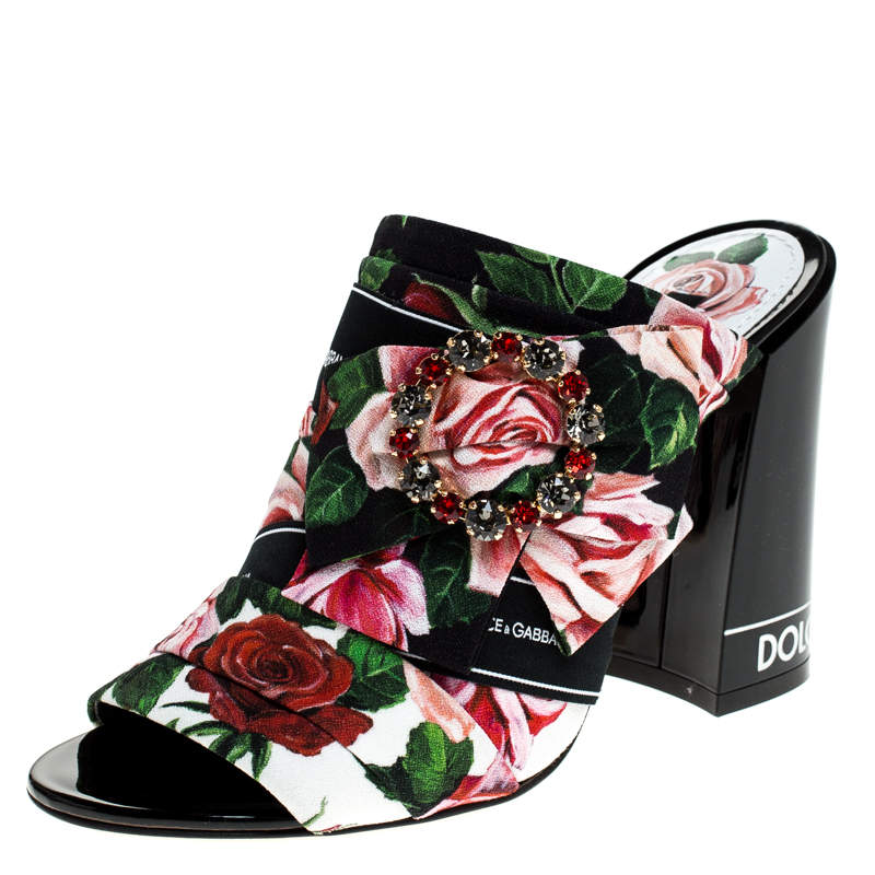 Dolce & Gabbana Multicolored Charmeuse Printed Fabric Bejeweled Buckle Mules Size 37