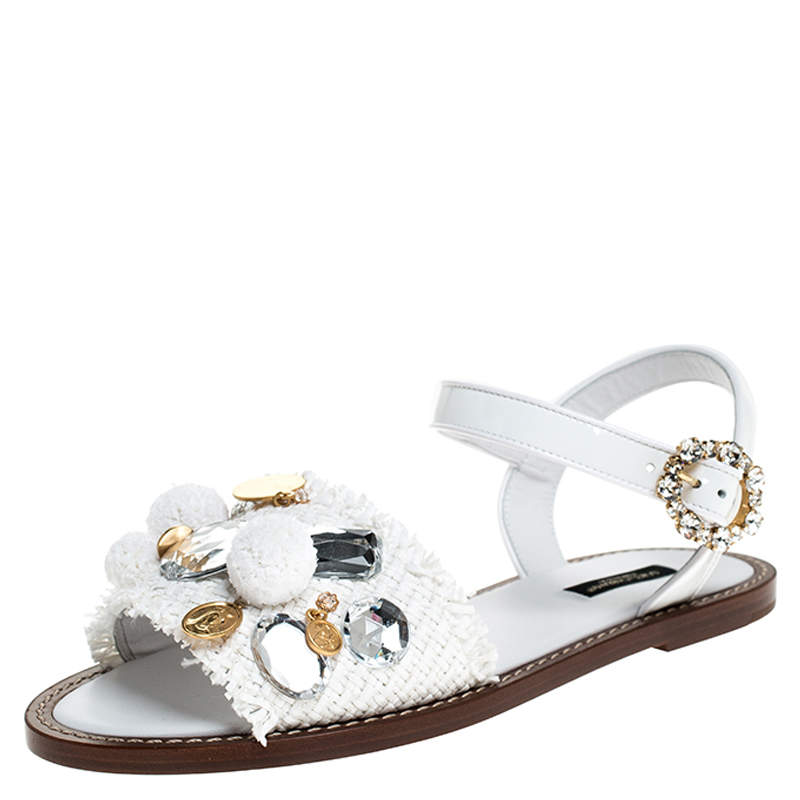 Dolce & Gabbana White Patent Leather And Raffia Pom Pom Crystal Embellished Flat Sandals Size 39