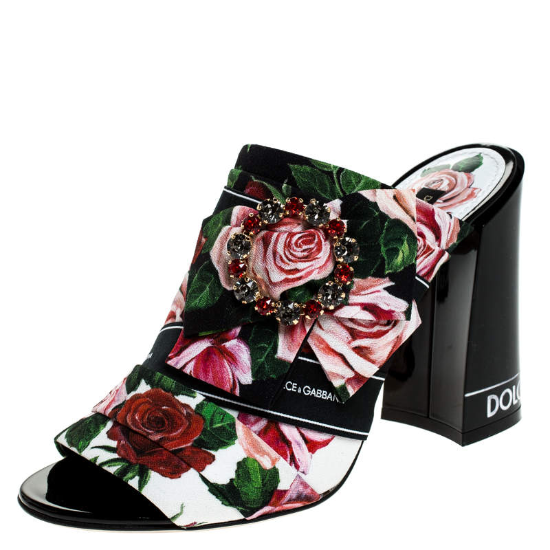 Dolce & Gabbana Multicolor Floral Printed Fabric Crystal Embellished Bow Open Toe Mules Size 35
