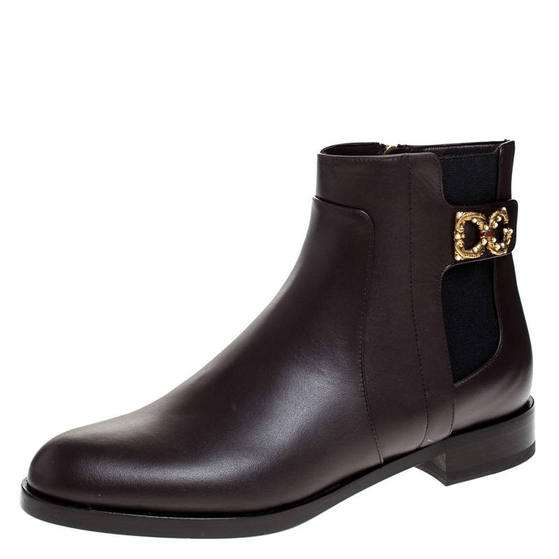 Dolce & Gabbana Brown Leather Logo Detail Ankle Boots Size 37.5