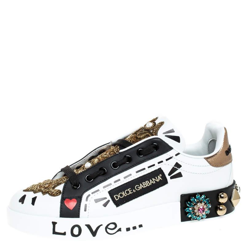 Dolce&Gabbana Multicolor Leather Portofino Low Top Sneakers Size 35.5