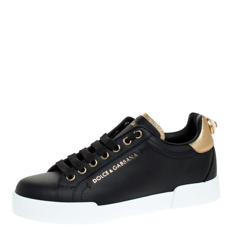 Dolce & Gabbana Black Leather Portofino Pearl Embellished Low Top Sneakers Size 35.5